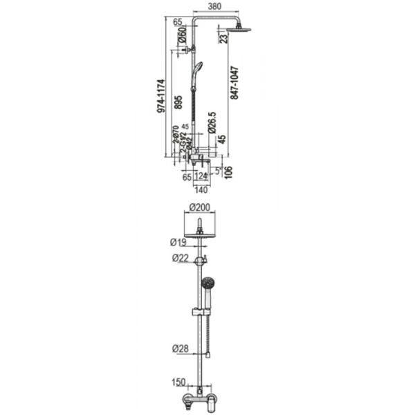 Душевая стойка Bravat Opal C F6125183CP-A5-RUS