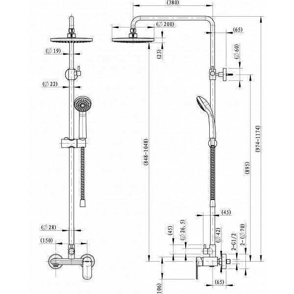 Душевая стойка Bravat Opal C F9125183CP-A5-RUS