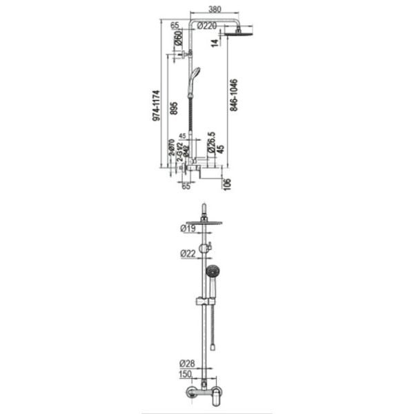 Душевая стойка Bravat Opal R F9125183CP-A2-RUS
