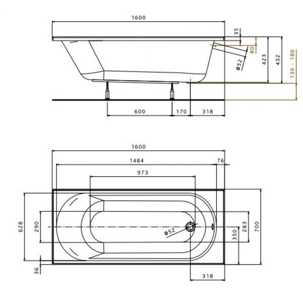 Акриловая ванна Kolo OPAL Plus 160x70 (сифон)