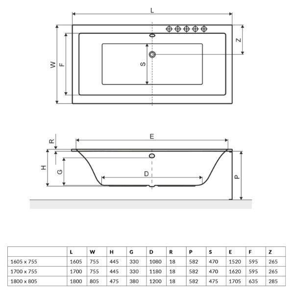 Акриловая ванна Excellent Pryzmat Slim 180x80 (сифон автомат)