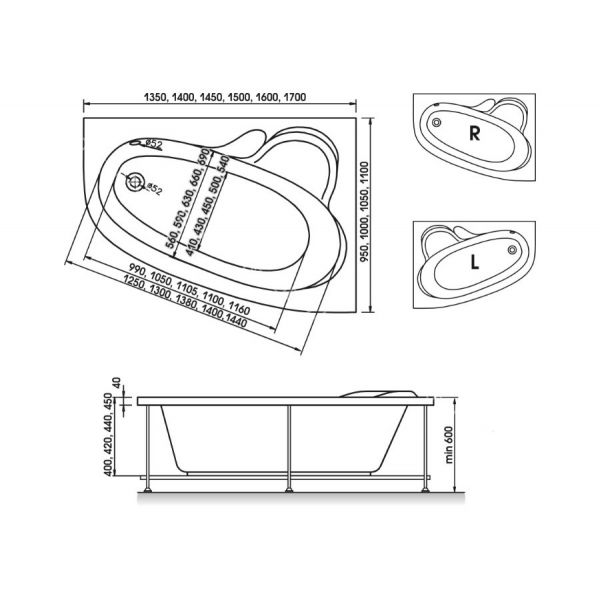 Акриловая ванна Relisan Ariadna 150x110 (сифон автомат)