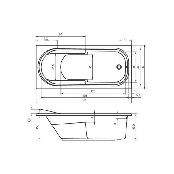 Акриловая ванна Riho Columbia 140x70 (сифон автомат)