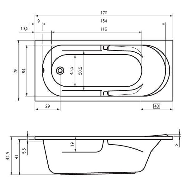 Акриловая ванна Riho Future 170x75 (сифон автомат)
