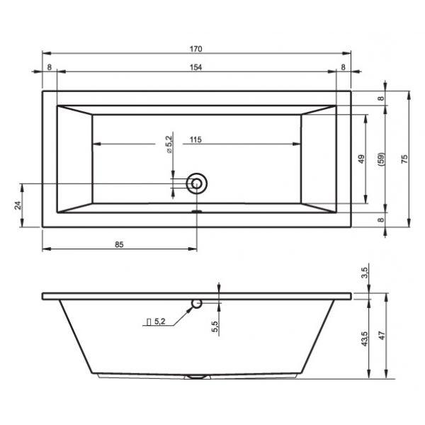 Акриловая ванна Riho Lusso 170x75 (сифон автомат)