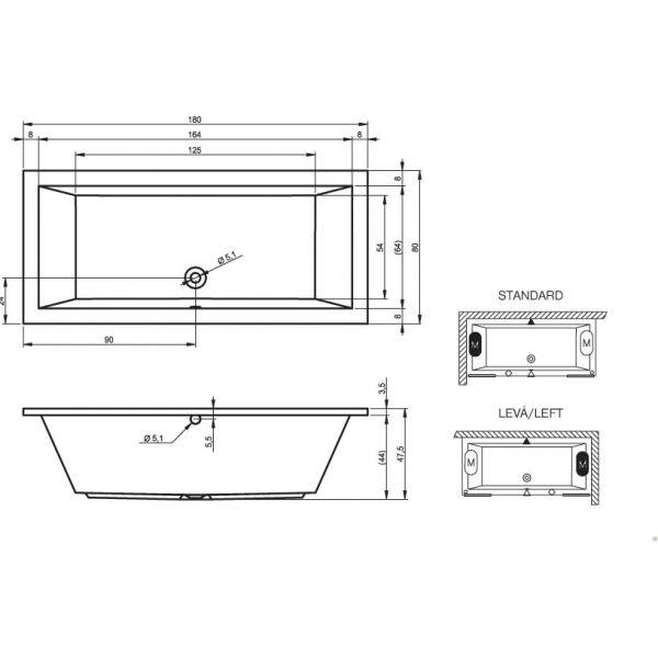 Акриловая ванна Riho Lusso 180x90 (сифон автомат)