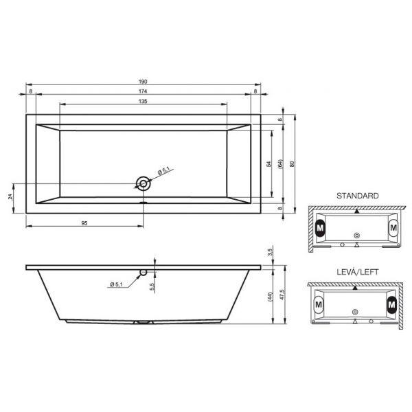 Акриловая ванна Riho Lusso 200x90 (сифон автомат)