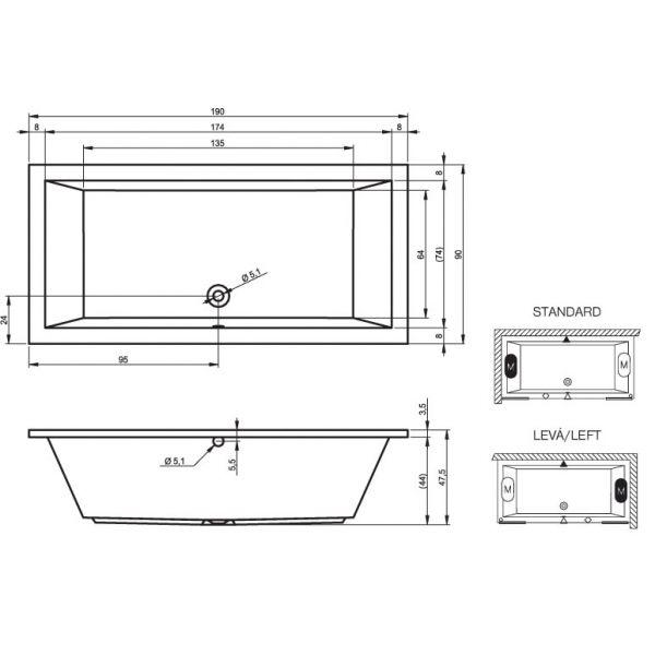 Акриловая ванна Riho Lusso 180x80 (сифон автомат)