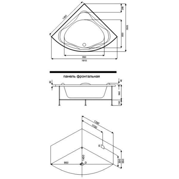 Акриловая ванна BAS Риола 135х135 (сифон автомат)