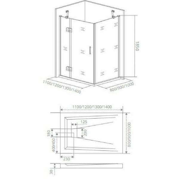 Душевой уголок Good Door SATURN WTW+SP 140x100