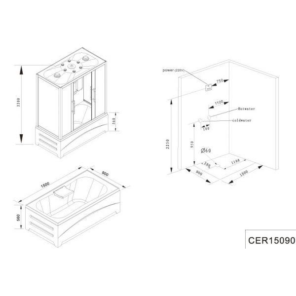 Душевая кабина Cerutti SW-C15090 150x90