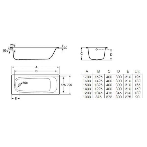Стальная ванна Roca Contesa 140x70 (сифон)