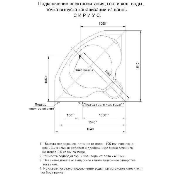 Гидромассажная ванна Aquatek Сириус 165x165 (сифон)