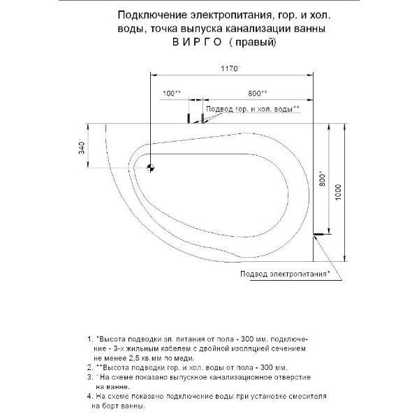 Акриловая ванна Aquatek Вирго 150х100 (сифон)