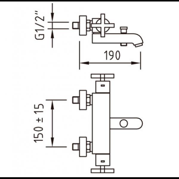 Смеситель для ванны Clever With2 morea 97012 термостатический
