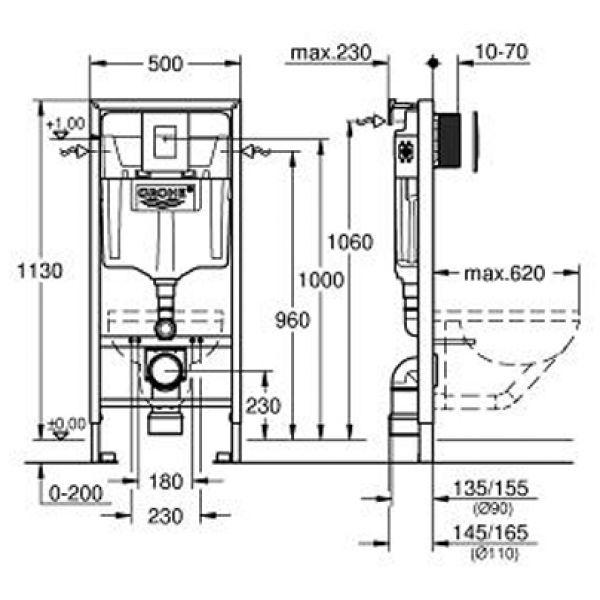 Комплект для инсталляции 4 в 1 в сборе Grohe Rapid SL 38775001