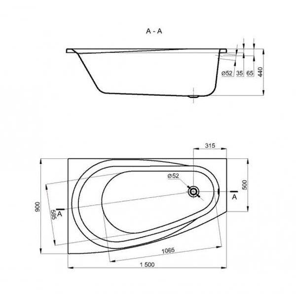 Акриловая ванна Alba Spa Baline 150х90 (сифон)