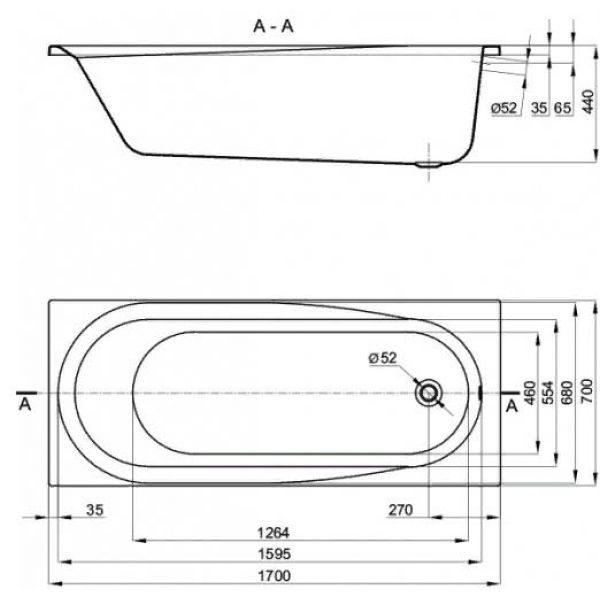 Акриловая ванна Alba Spa Baline 170х70 (сифон)