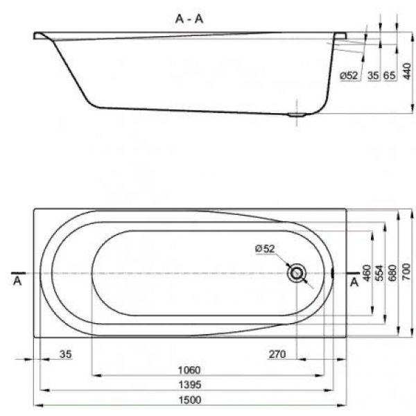 Акриловая ванна Alba Spa Baline 150х70 (сифон)