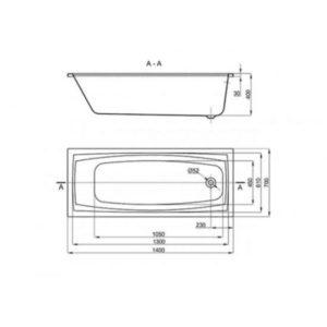 Акриловая ванна Alba Spa Valencia 140х70 (сифон)