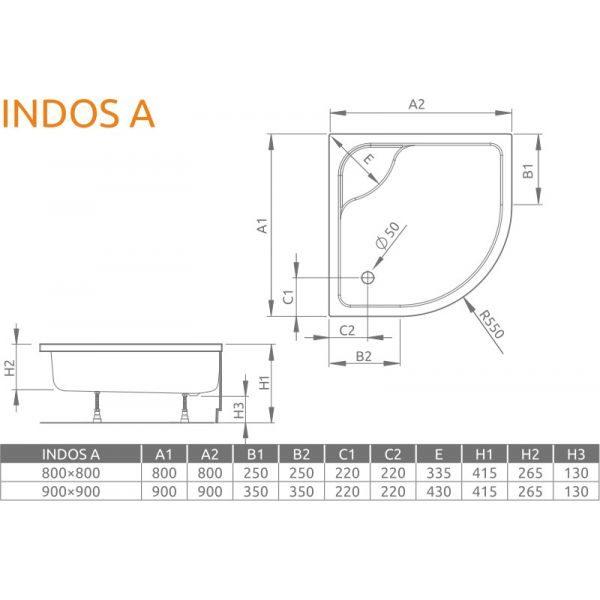 Душевой поддон Radaway Indos A 80x80