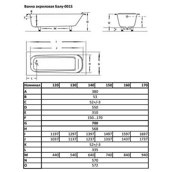 Акриловая ванна Balu 001S 120x70 (сифон)