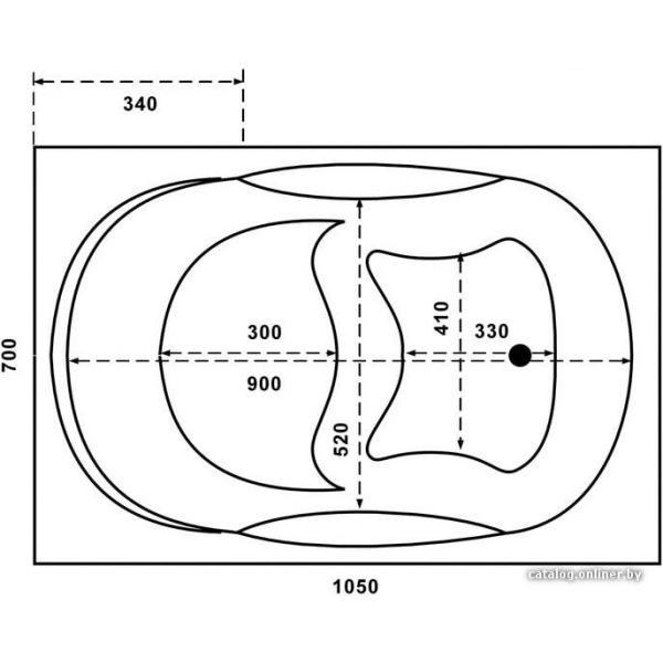 Акриловая ванна BAS РИО New 105х70 (сифон автомат)