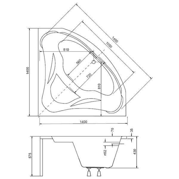 Акриловая ванна Besco Mia 140x140 (сифон автомат)