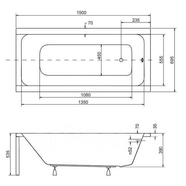 Акриловая ванна Besco Modern 150х70 (сифон автомат)