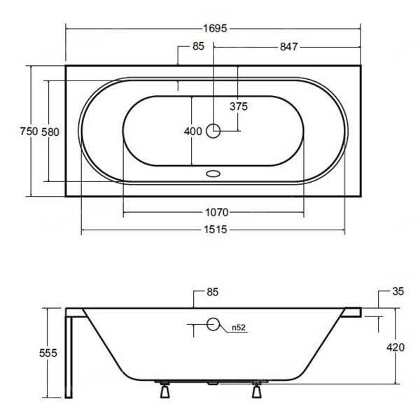 Акриловая ванна Besco Vitae 170х75 (сифон автомат)