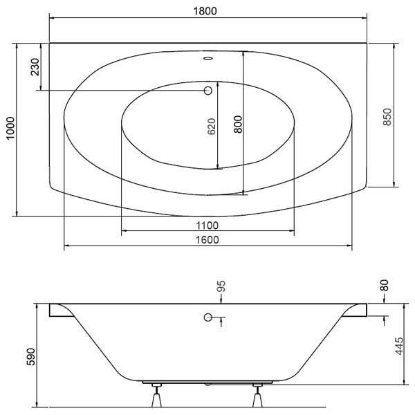 Акриловая ванна Besco Telimena 180х75 (сифон автомат)