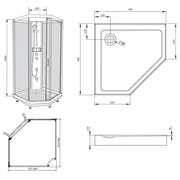 Душевая кабина Bravat WATERFALL White 90x90