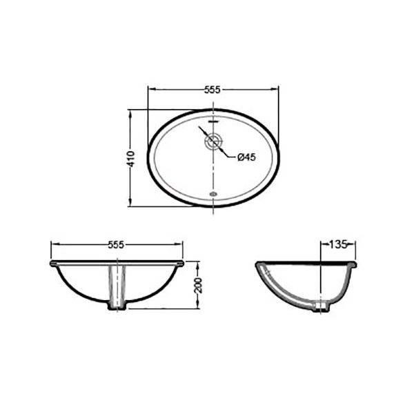 Умывальник Bravat C22102W-ENG
