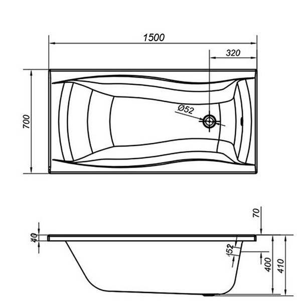Акриловая ванна Cersanit Profea 150х70 (сифон)
