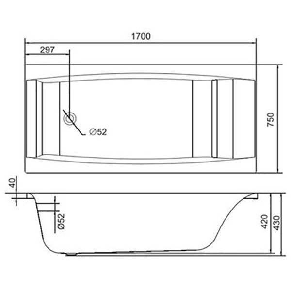 Акриловая ванна Cersanit VIRGO 170x75 (сифон)