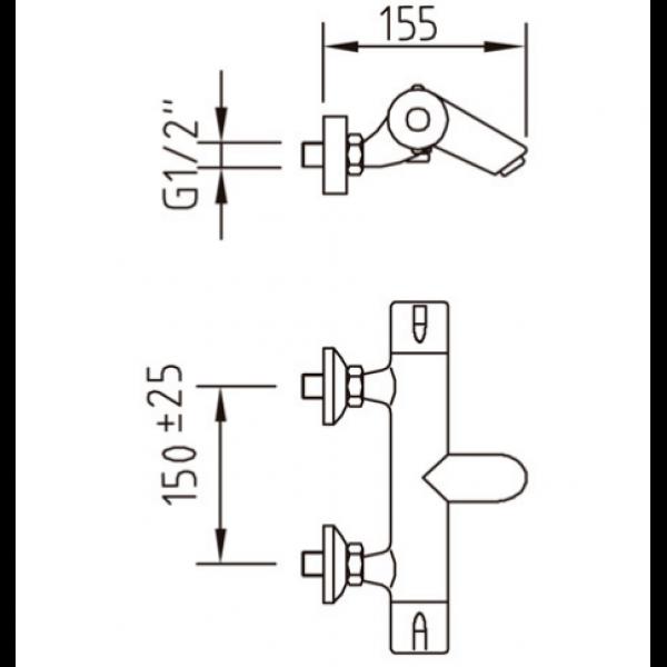 Смеситель для ванны Clever Nine urban 98822 термостатический