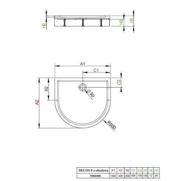 Душевой поддон Radaway Delos P 100x90x15 с панелью