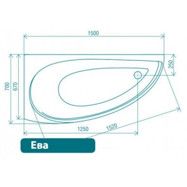 Акриловая ванна ARTEL PLAST Ева 150x70 (сифон)