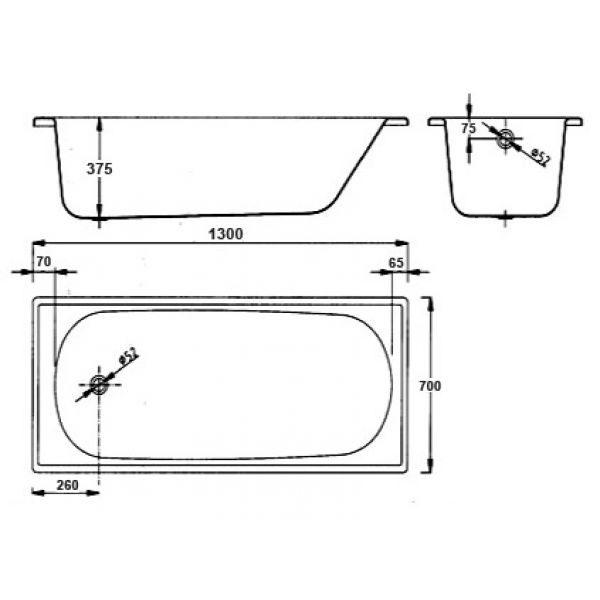 Стальная ванна BLB Europa 130x70 (сифон)