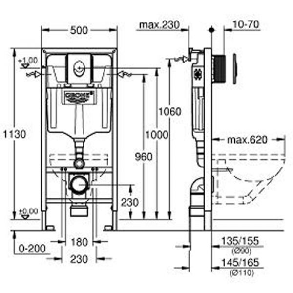 Комплект для инсталляции 4 в 1 в сборе Grohe Rapid SL 38750001