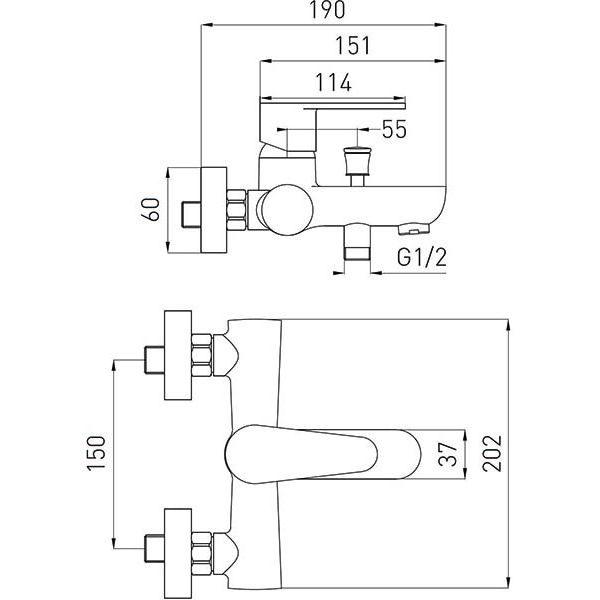 Смеситель для ванны Ferro Algeo BAG1