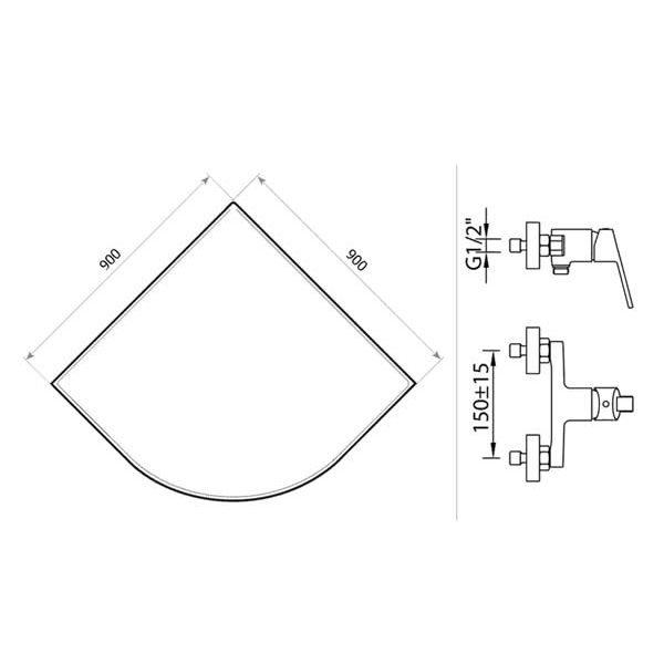 Готовое решение №22 (душевой уголок Niagara NG-109022-14 + смеситель для душа Clever S12 XTREME)