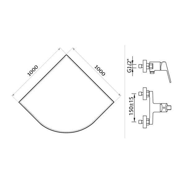 Готовое решение №26 (душевой уголок Niagara NG-110022-14 + смеситель для душа Clever S12 XTREME)