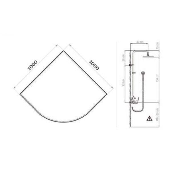 Готовое решение №41 (душевой уголок Niagara NG-110022-14 + душевая система Clever Circular)