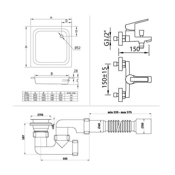 Готовое решение №15 (стальной душевой поддон BLB+cмеситель для ванны CLEVER+cифон АНИ ПЛАСТ)