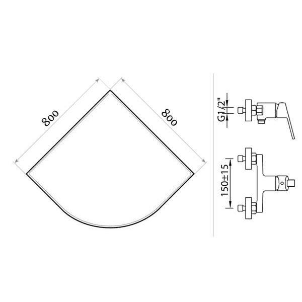 Готовое решение №18 (душевой уголок Niagara NG-108022-14 + смеситель для душа Clever S12 XTREME)