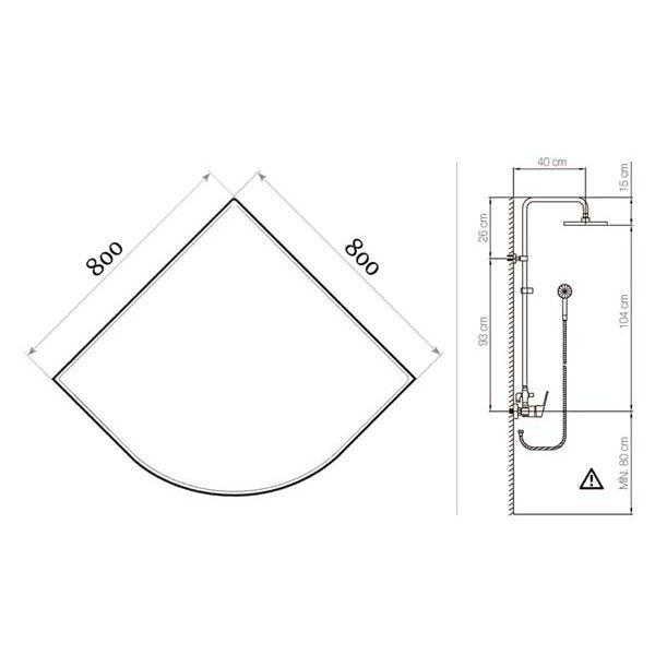 Готовое решение №36 (душевой уголок Niagara NG-108012-14 + душевая система Clever Circular)