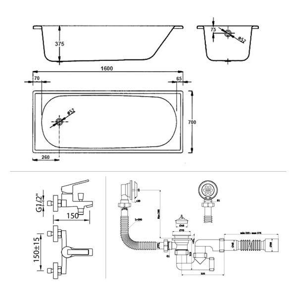 Готовое решение №47 (стальная ванна BLB EUROPA+опора для ванны+cмеситель для ванны и душа CLEVER+сифон для ванны АНИ ПЛАСТ)