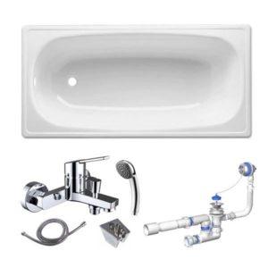 Готовое решение №46 (стальная ванна BLB EUROPA+опора для ванны+cмеситель для ванны и душа CLEVER+сифон для ванны АНИ ПЛАСТ)