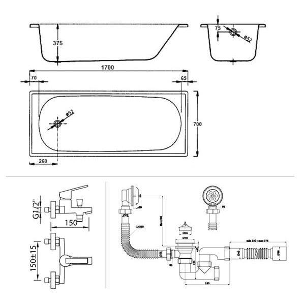 Готовое решение №48 (стальная ванна BLB EUROPA+опора для ванны+cмеситель для ванны и душа CLEVER+сифон для ванны АНИ ПЛАСТ)